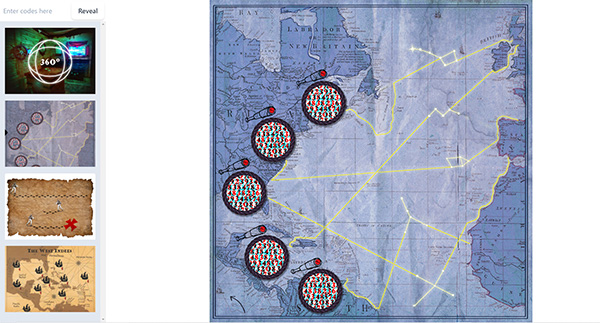 A screenshot of a game showing a map with some markers on it